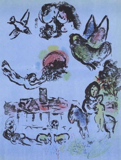 """Chagall """"Nocturne at Vence"""" Lithograph V2 Mourlot 1963"""
