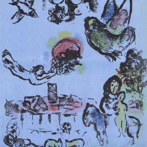 Chagall Original Lithograph, Nocturne at Vence, 1963