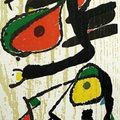 "Miro Woodcut Engraving ""V3-1"" printed 1984"