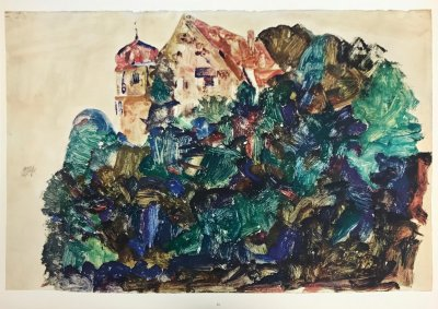 "Schiele Egon, 31, Lithograph, ""The old castle in Bregenz"" printed 1968"