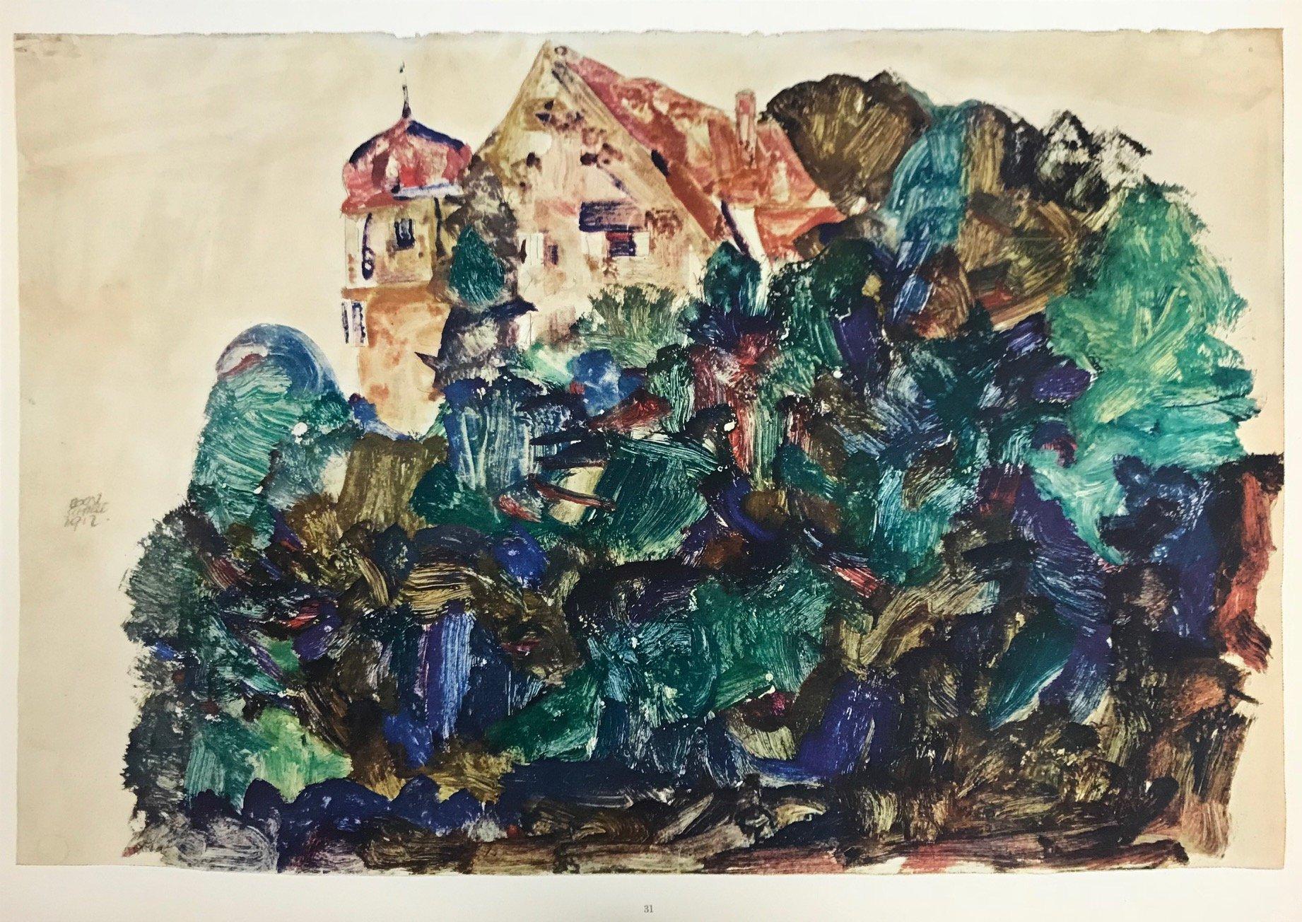 Schiele 31, Lithograph Old Castle in Bregenz, 1968