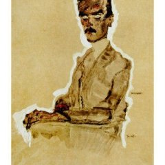 "Schiele Egon, 7, Lithograph, ""Portrait of Eduard seated"" 1968"