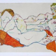 Egon Schiele 36,  Lithograph Entwined reclining couple,   Expresionism