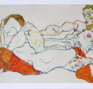 Schiele Lithograph 36, Entwined Reclining Couple