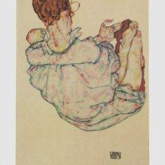 "Schiele Egon, 57, Lithograph, ""Sitting woman"" printed 1968"