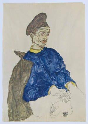 "Schiele Egon, 45, Lithograph, ""Russian prisoner of war"" printed 1968"