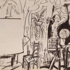 Picasso's Sketchbook Lithograph 4 Date 3/11/1955