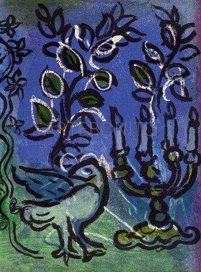 Candlestick, Original Lithograph by Marc Chagall - Jerusalem window