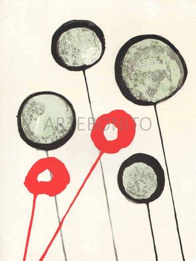 """Calder Original Lithograph """"DM13156"""" Printed 1966"""