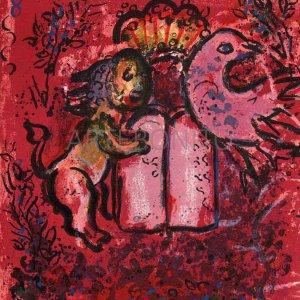 Chagall Jerusalem windows, Original Lithograph Table of laws