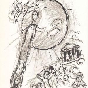 Chagall Sketch 3 Lithograph, Paris opera 1966
