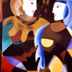 "Absi Grace, ""Whispering"" original oil on canvas"