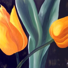 "Absi Grace ""Yellow tulips"" Oil on canvas"
