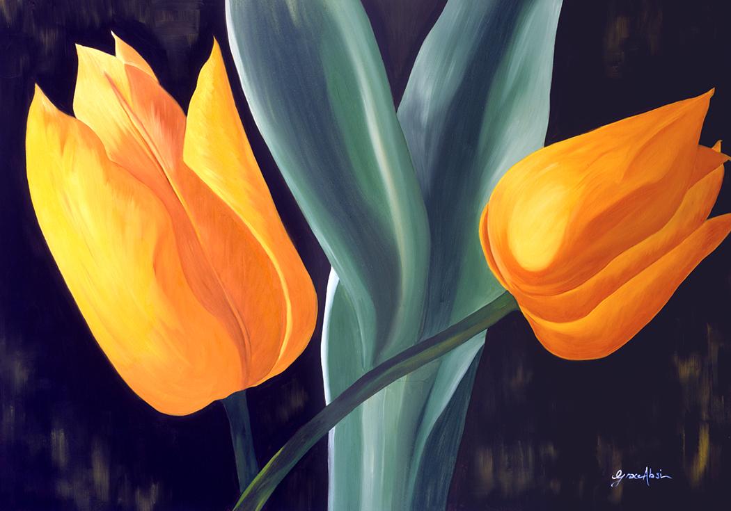 "Absi Grace ""Yellow tulips"" Oil on canvas"