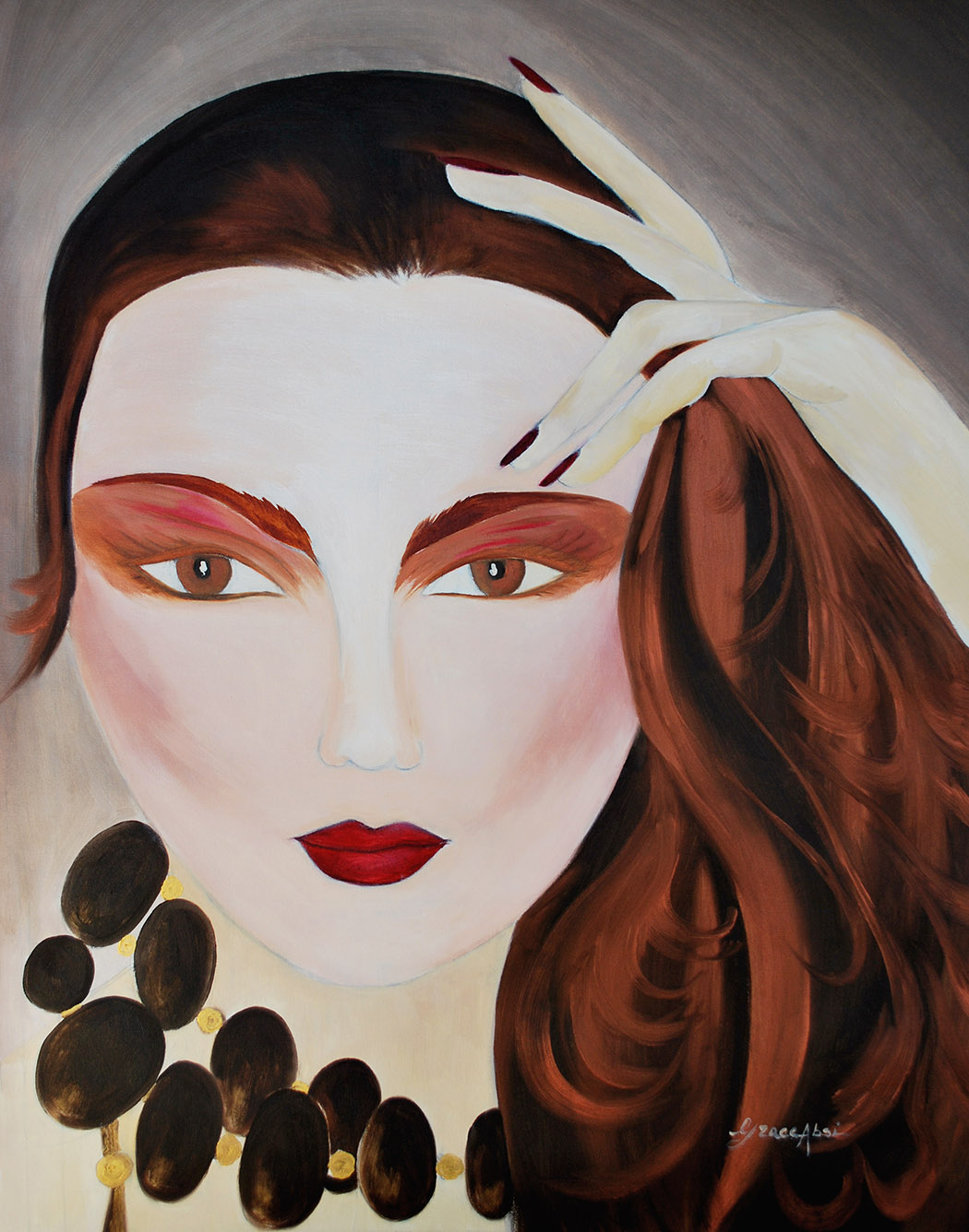 """Absi Grace """"The black pearl"""" Oil on canvas"""