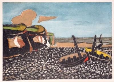 "Braque ""Les Barques bleues"" Lithograph printed 1968"