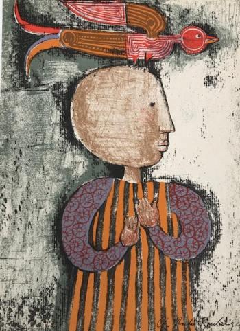 Graciela Boulanger, Original Lithograph, Enfant et oiseau 4