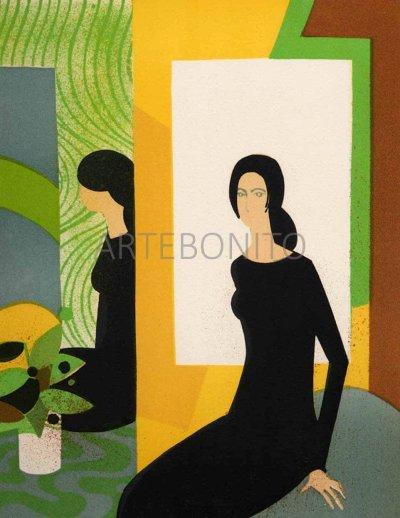 """Minaux """"Jeu de Miroir"""" Original Lithograph 1988"""