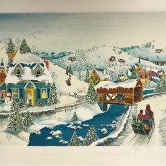 "American school, Lithograph ""Snow Season"" signed 1978"