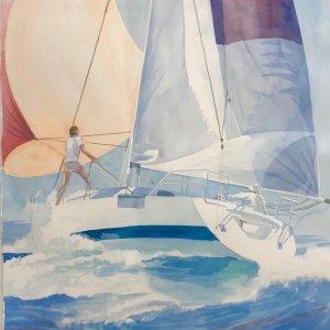 """Robert White Original watercolor """" Sailing"""""""
