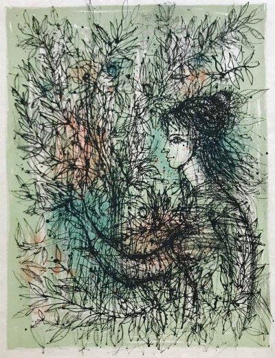 """Jean Carzou """"5"""" Original Lithograph 1962 Mourlot"""