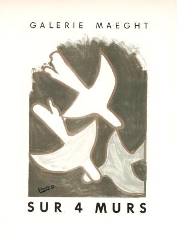 georges braque lithograph 1959 sur quatre murs