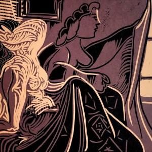 1978 Picasso Linocut Two women near the window