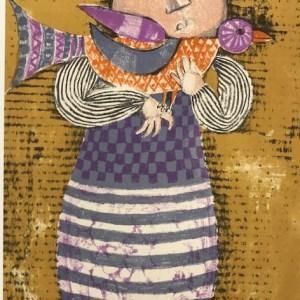 Graciela Boulanger Lithograph, Enfant et oiseau 1
