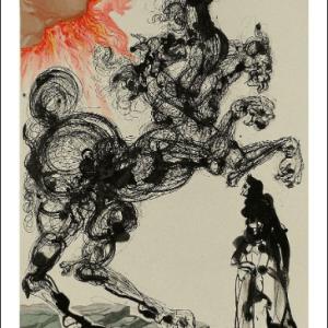 Salvador Dali Woodcut, Cerbere - Hell 6