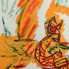 "Karel Appel Original Lithograph 1971 ""No7-3"" Noise"