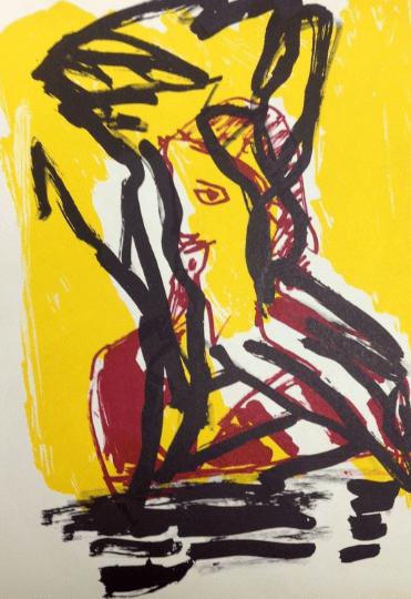 Karel Appel Original Lithograph N7-1 Noise 1988