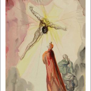 Salvador Dali Woodcut, Apparition of Christ-Paradise 14