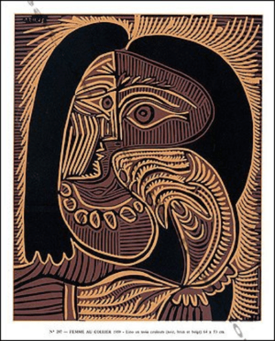 """Picasso Linocut Woman with necklace"""" X siecle 1978 """""""