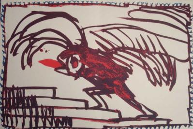 """Pierre Alechinsky original Lithograph """"N8-4d"""" Noise 1988"""