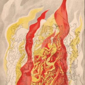 "Rattner ""Fire"" Lithograph Verve 1937"
