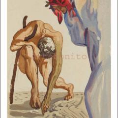 Salvador Dali, Purgatory 7, Woodcut, Divine Comedy