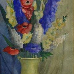 Edith Easton Waltz, Flowers Bouquet, Original Gouache Signed