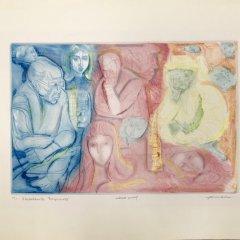 """Irvin Amen, Etching """"Sketchbook fragments"""" signed & numbered"""