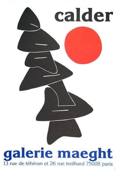 Alexander Calder Poster Lithograph, Stabiles noires et soleil rouge