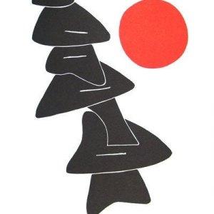 Calder Poster Lithograph, Stabiles noires et soleil rouge