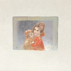 "Edna Hibel, Signed Original Lithograph ""Martha & Iris"" 1977"