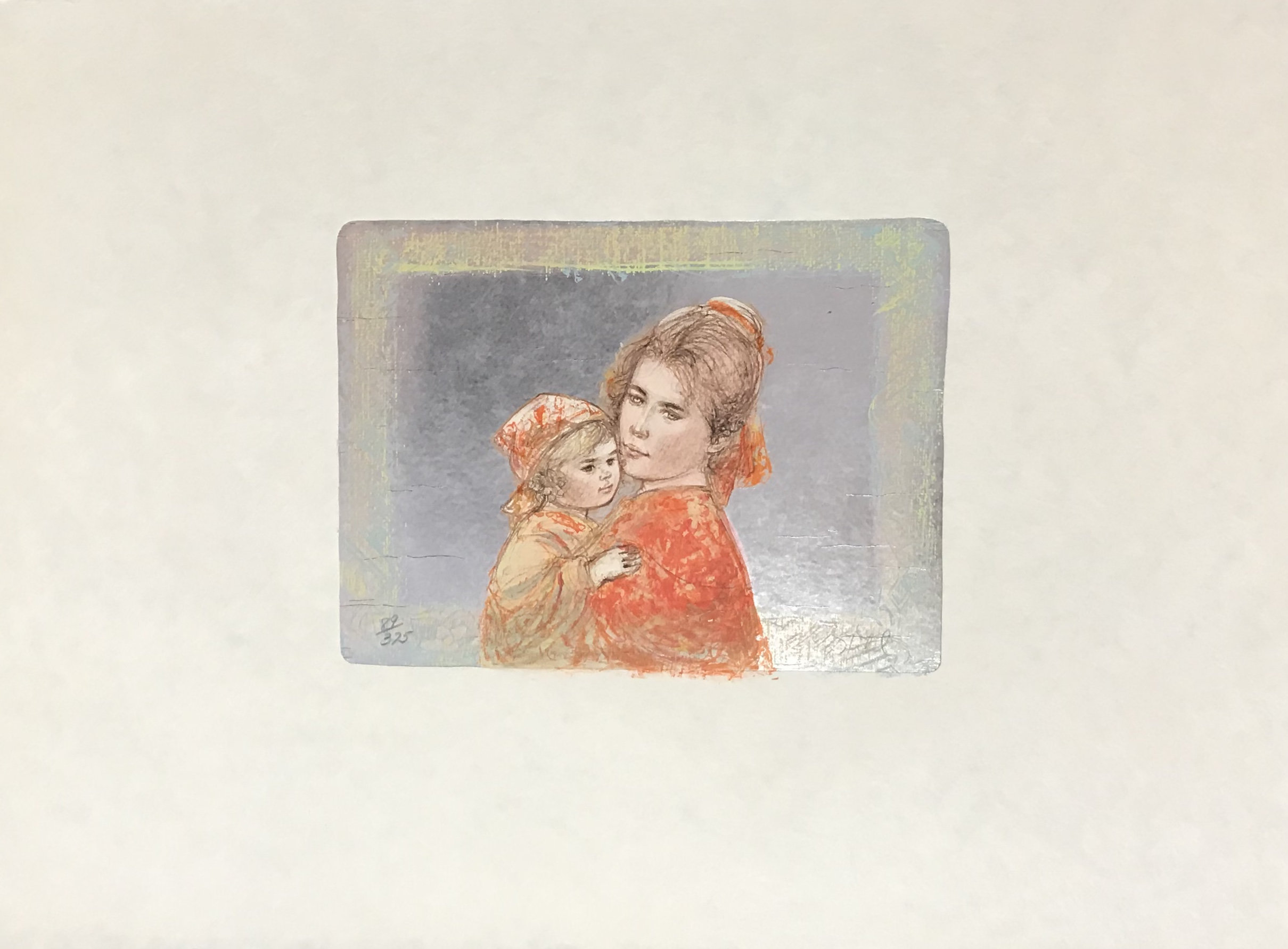 Edna Hibel, Martha & Iris 1977, Pencil Signed Original Lithograph