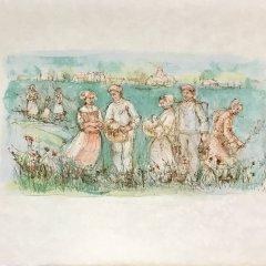 """Edna Hibel, Signed Original Lithograph """"Friesland"""" 1977"""