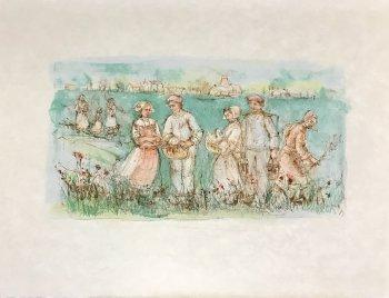 Edna Hibel, Friesland, Original Lithograph Pencil Signed 1977