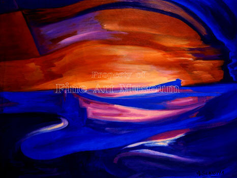 Alberto Schiuma, Bahia, Original oil on Canvas Signed 1999