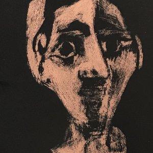 Pablo Picasso Face, Linocut 2 colors, XX siecle 1978