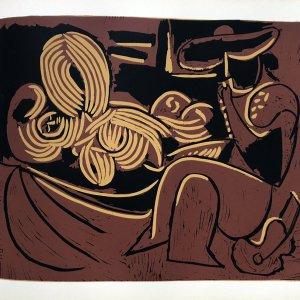 Pablo Picasso 13, Linogravures femme couchee et homme a la guitare 1962