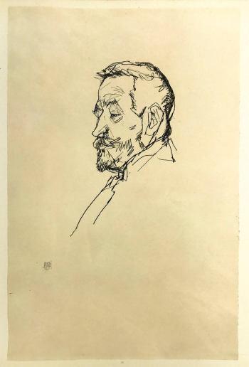 Schiele 35, Lithograph Portrait of Henrich, 1968
