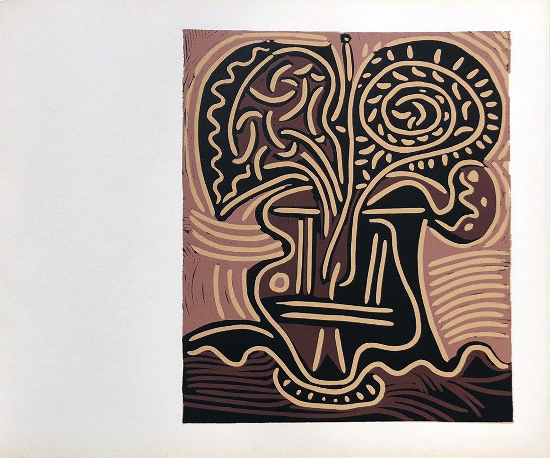 Picasso Linogravures 11, Le vase des fleurs 1962