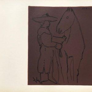 Picasso Linogravures 9, Picador et cheval 1962